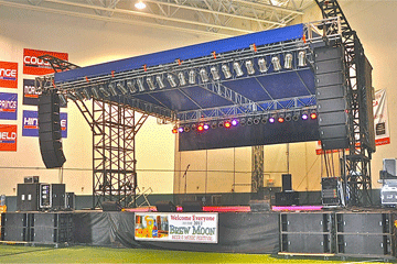 Superstage 32 x 24 stage with to fly a line array sound system from the stage.